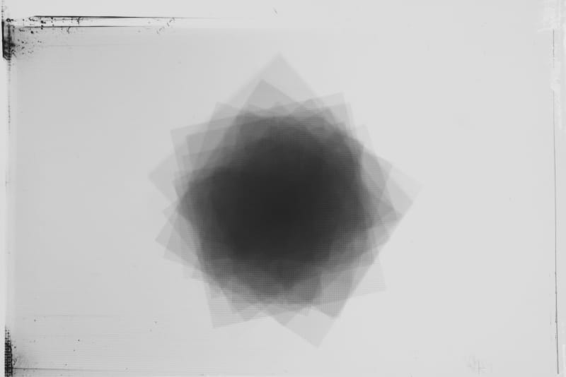 Jeff Weber, Rotating Square, Berlin, 2019, Photogram on gelatin silver print, 5 × 7 in., Unique