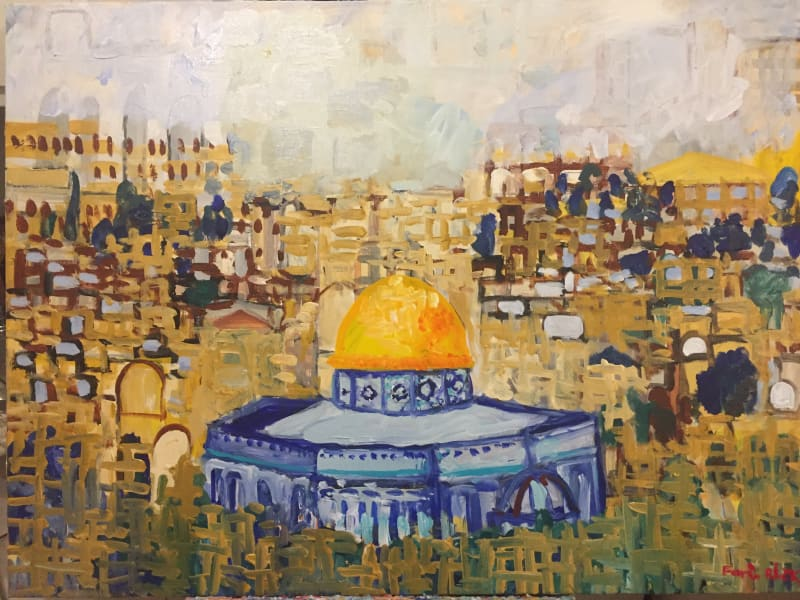 Fares Rizk, The Magic Of Jerusalem 2020, Acrylic on canvas, 75x100 cm.