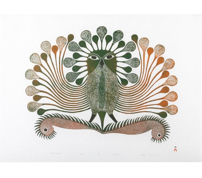 Lot 53 KENOJUAK ASHEVAK, C.C., R.C.A. (1927-2013) KINNGAIT (CAPE DORSET) Owl and Caterpillar, 1995 #15 PRICE REALIZED: $2,706.00