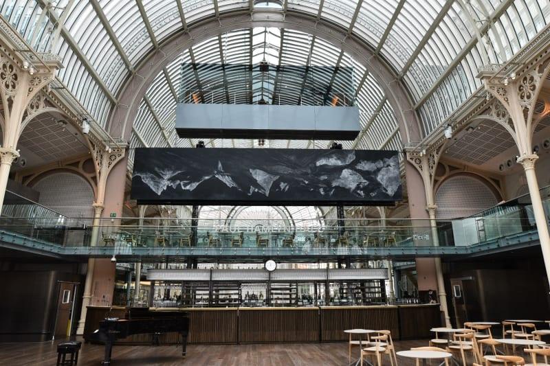 Installation view, Paul Hamlyn Hall, Royal Opera House, London, 4 September 2021. Photo: Laura Aziz