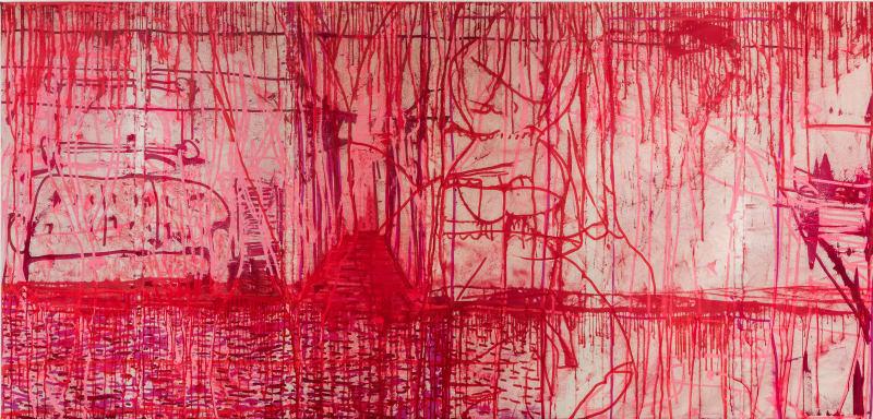 """""""Sala Roja,"""" 2018, acrylic on canvas, 66x138"""""""