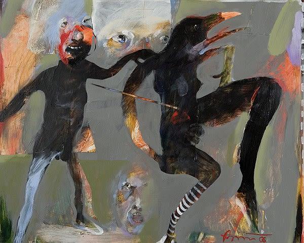 Rick Bartow Night Circus 6-8, 2006 acrylic on panel 16 x 60 in