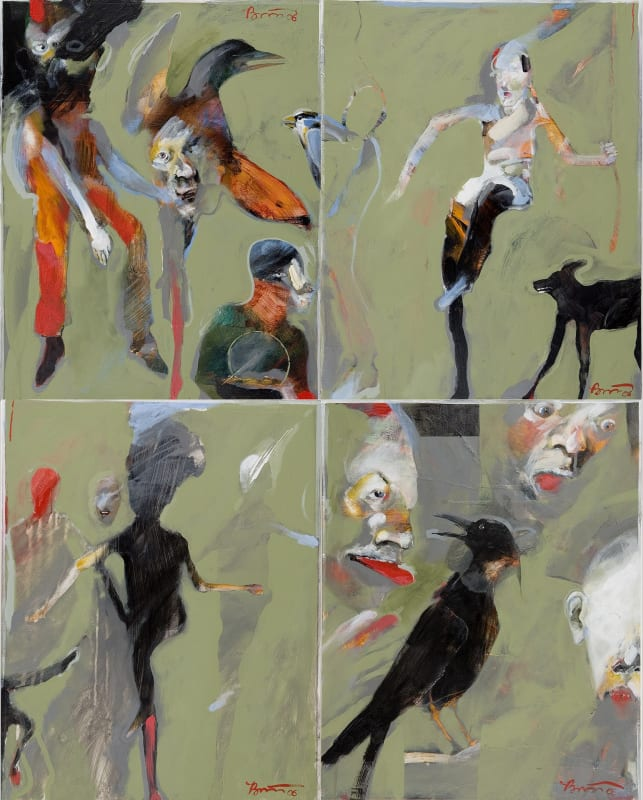 Rick Bartow Night Circus 1-4, 2006 acrylic on panel 40 x 32 in
