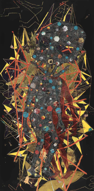 Pierre Yves Bohm, Apocalypse, 2011, Huile sur toile sur toile et fragments de toiles cousues. 300 x 150 cm