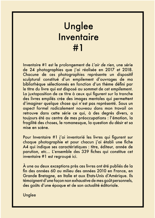 Inventaire #1 2020 - Coffret n° 1, page d'introduction © unglee/adagp