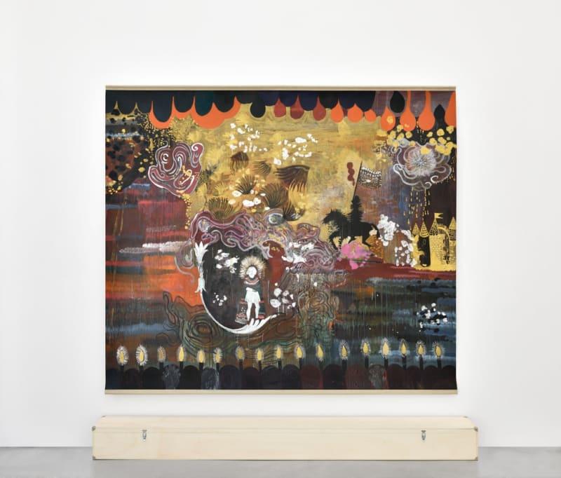 Hélène Delprat, Ritorno al castello remake ou Le cavalier noir de De Chirico ne me fait pas peur, 2013 Pigment or, pigment argent, pigments et liant acrylique sur papier marouflé sur toile libre 213 x 240 cm / 82,7 x 98,4 in