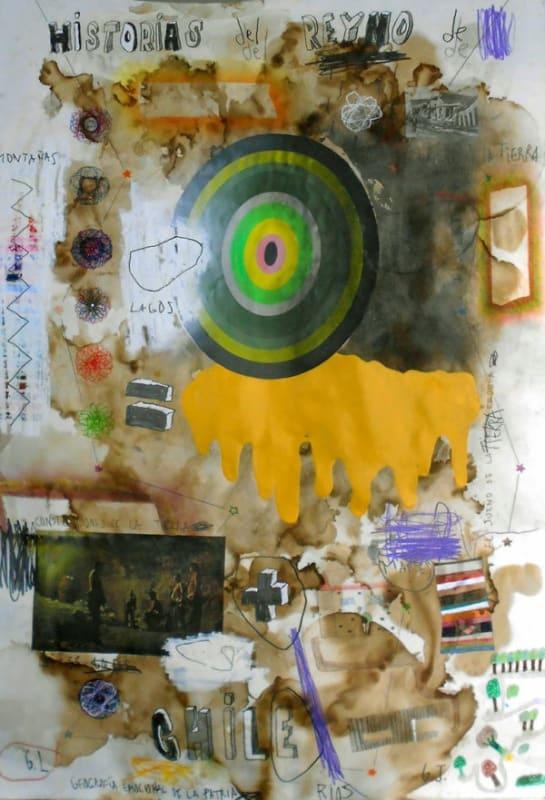 Coco González Lohse, Historias del Reyno de Chile, 2016-2019, Collage, acrylic enamel, graphite on paper, 110 × 77 cm.