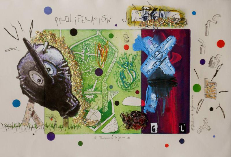 Coco González Lohse, Hot Ego, 2001-2018. Mixed technique on paper, 35 x 55 cm.