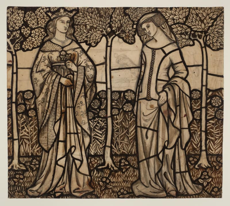 William Morris,Guinevere and Iseult: Cartoon for Stained Glass (1862)