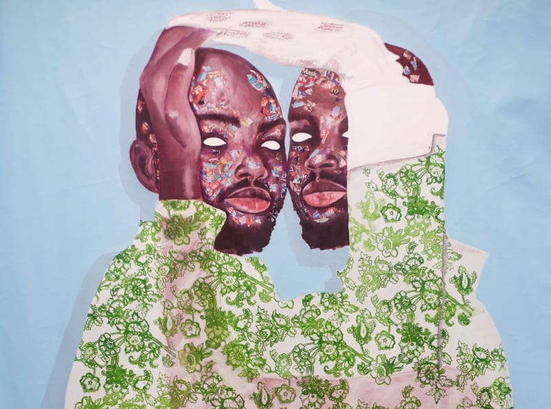 Emmanuel Taku, My Brother's Keeper (2020). Mixed media. Courtesy the artist and Noldor Artist Residency.