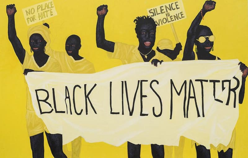 Kwesi Botchway, blacklivesmatter (divine protestings), 2020, acrylic on canvas. Courtesy: the artist and Gallery 1957, London/Accra