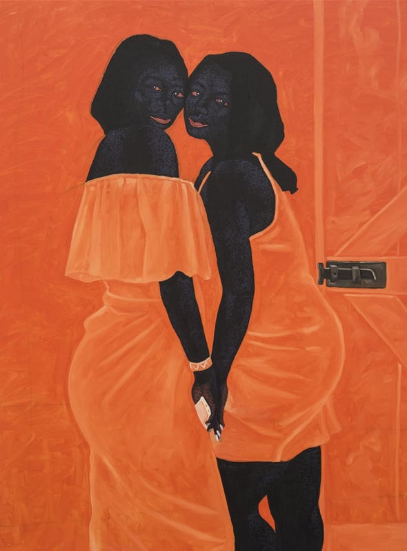 Kwesi Botchway, Solid Bond, 2020, acrylic on canvas. Courtesy: the artist and Gallery 1957, London/Accra