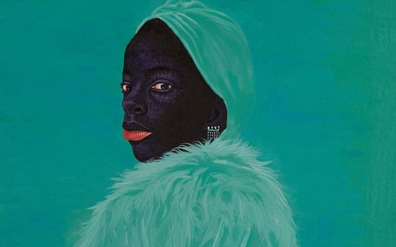 Kwesi Botchway, Green Fluffy Coat, 2020, acrylic on canvas. Courtesy: the artist and Gallery 1957, London/Accra