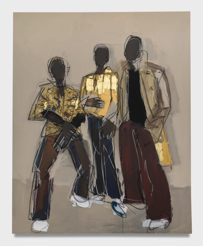 "Ferrari Sheppard, ""Me, Reggie, and Tavares,"" 2021, Acrylic, charcoal and 24k gold on canvas, 104 x 84 inches. Photographed by Jeff McLane. Courtesy of UTA Artist Space."
