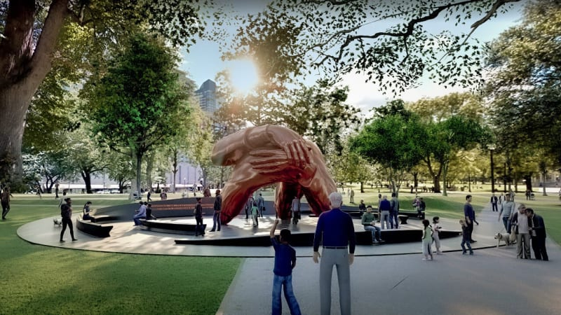 """A rendering of """"The Embrace,"""" which will be built on the Boston Common in 2022. Credit...Hank Willis Thomas and MASS Design Group"""
