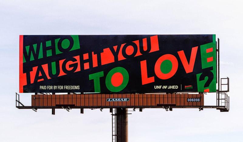 Hank Willis Thomas, Who Taught You To Love?, 2020, Des Moines, IA. Photographer: Jeff Scroggins