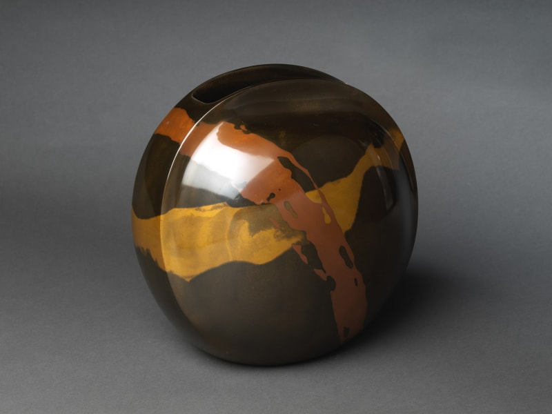 Hannya Tamotsu (Japanese, born 1941). Round Flower Vase, 2016. Heisei period (1989–2019). Casting with an alloy of copper and arsenic (kuromidō), brass, and copper. H. 11 7/8 in. (30.2 cm); W. 10 5/8 in. (27 cm); D. 7 7/8 in. (20 cm). The Metropolitan Museum of Art, Gift of Hayashi Kaoru, in celebration of the Museum's 150th Anniversary, 2020 (2020.76.9). Image © Hannya Tamotsu