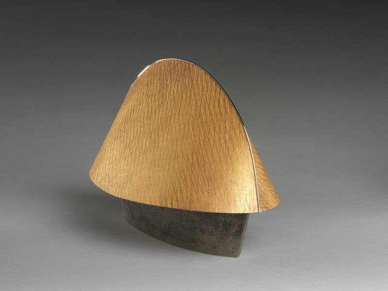 Iino Ichirō (Japanese, born 1949). Harmony (Wa). Heisei period (1989–2019). Copper, gold foil, amalgam gilding, silver plate, and stainless steel. H. 9 1/4 in. (23.5 cm); W. 14 1/2 in. (36.8 cm); D. 7 7/8 in. (20 cm). The Metropolitan Museum of Art, Gift of Hayashi Kaoru, in celebration of the Museum's 150th Anniversary, 2020 (2020.76.12a, b). Image © Iino Ichirō