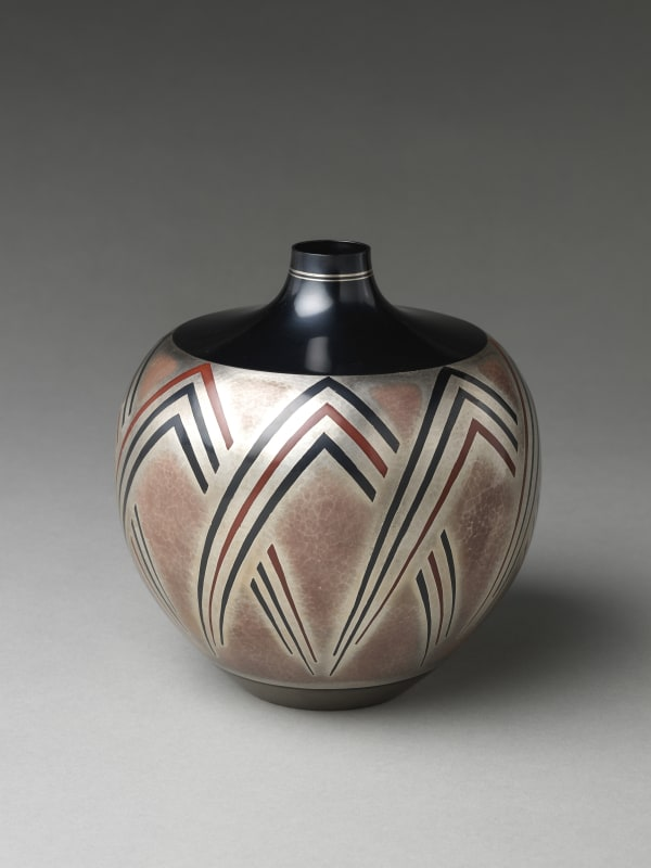 Katsura Morihito (Japanese, born 1944). Flower Vase, 1987. Shōwa period (1926–89). Silver and copper with inlays of silver, copper and gold alloy (shakudō). H. 7 (17.8 cm); Diam. 7 in. (17.8 cm). The Metropolitan Museum of Art, Gift of Hayashi Kaoru, in celebration of the Museum's 150th Anniversary, 2020 (2020.76.7). Image © Katsura Morihito