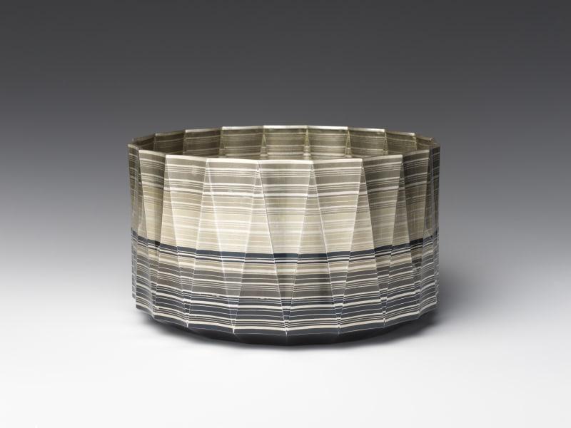 Yamamoto Akira (Japanese, born 1944). Morning Calm (Asanagi) Bowl, 2011. Heisei period (1989–2019). Welding with copper, silver, copper and gold alloy (shakudō), and copper and silver alloy (shibuichi). H. 4 1/2 × Diam. 7 5/8 in. (11.4 × 19.4 cm). The Metropolitan Museum of Art, Gift of Hayashi Kaoru, in celebration of the Museum's 150th Anniversary, 2020 (2020.76.6). Image © Yamamoto Akira