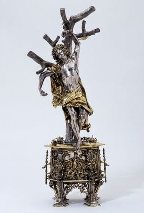 Reliquary Figure of St. Sebastian, c. 1497, Silver, parcel-gilt, hammered, cast and engraved; set with rock crystal, pearls, sapphires and rubies, 50 x 20 x 14.5 cm, Unique © Silver Collection, Victoria and Albert Museum, London