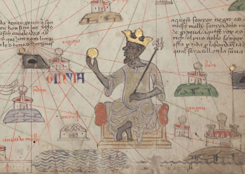 Mansa Musa represented on the Catalan Map of 1375, © Bibliothèque Nationale de France