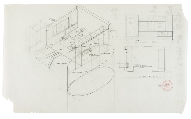 Axonometric & sectional elevation, House 3 Second Bedroom, 2007 Stamped and numbered 000153 ; titled 'House 3 Second Bedroom' and...