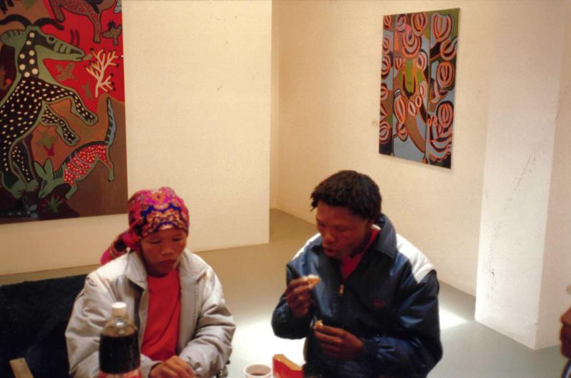 Dada and Thamae Kaashe at the Rebecca Hossack Art Gallery in London, 1993