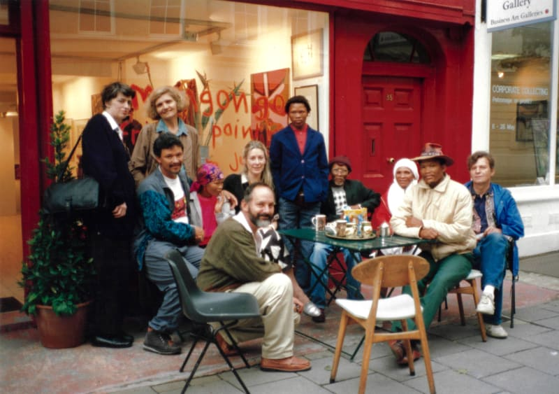 African Bushmen artists during their first exhibition in London at the Rebecca Hossack Art Gallery, 1993