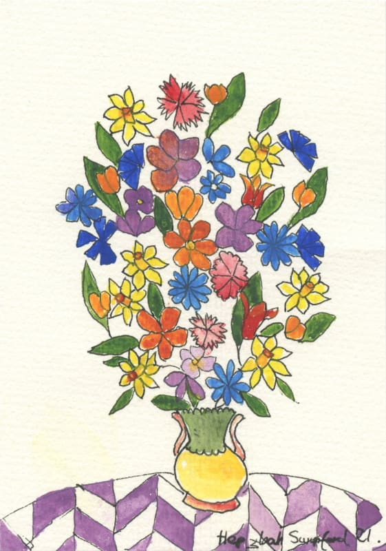 Lot 50: Hepzibah Swinford, Flowers with Chevrons, 2020, pen and watercolour on paper, 15 x 10 cm