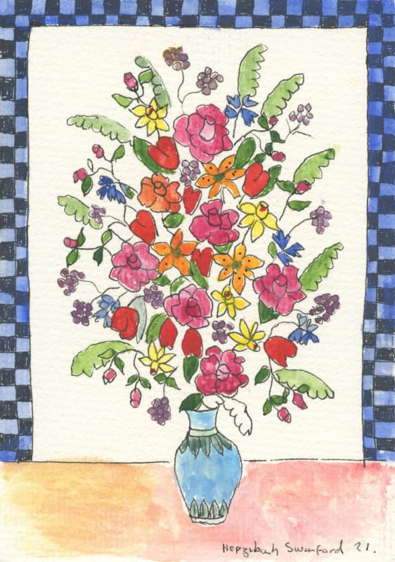 Lot 49: Hepzibah Swinford, Flowers with Checks, 2020, pen and watercolour on paper, 15 x 10 cm