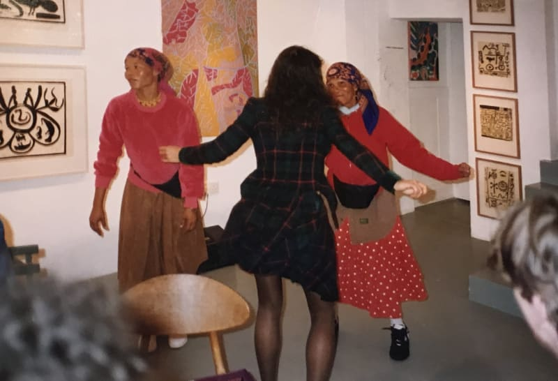 African Bushmen artists dancing in the Rebecca Hossack Art Gallery, 1992