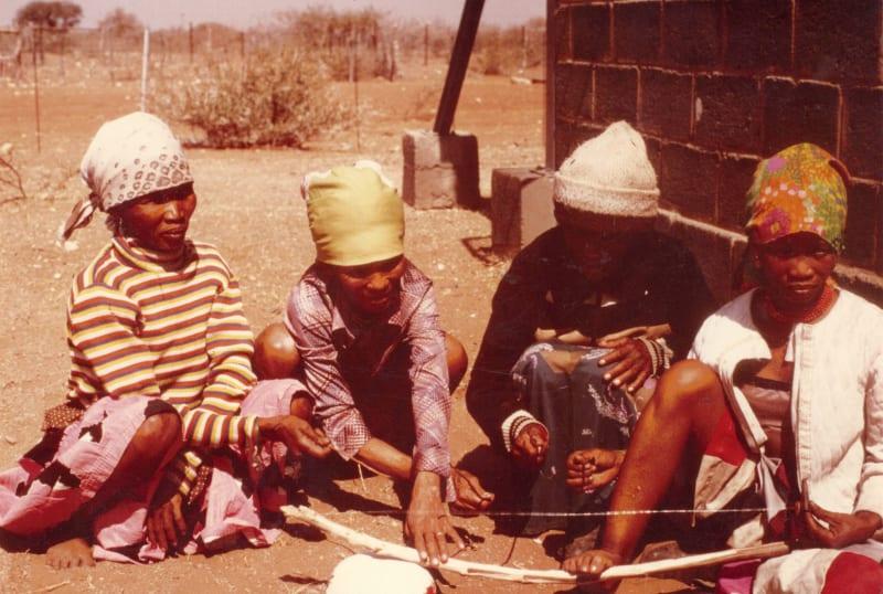 Rebecca's trip to the Kalahari: a group of women playing the dakateri
