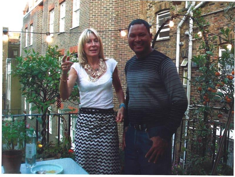 Rebecca Hossack and Alick Tipoti in London