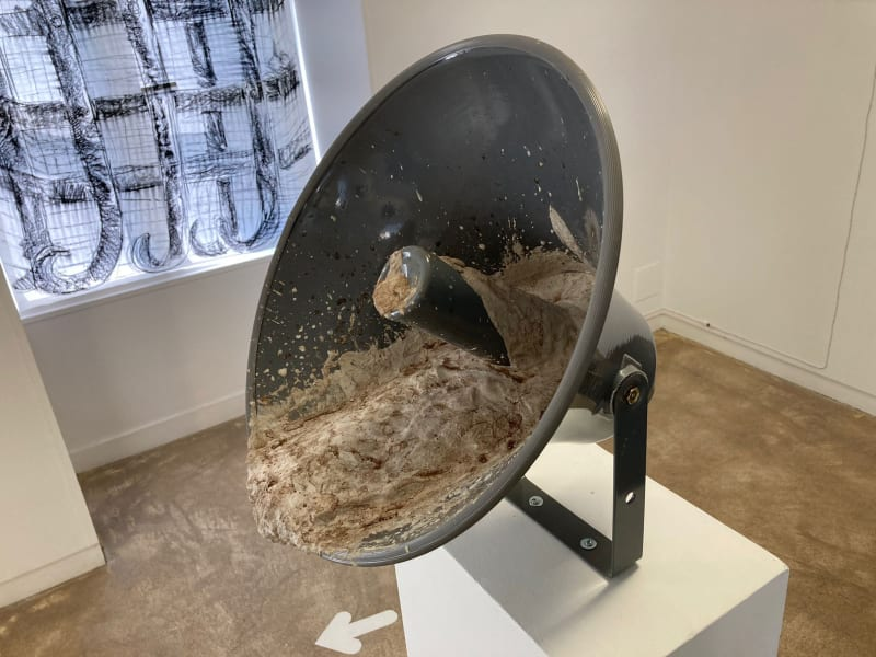 Parole étouffée 2019 Mixed sculpture Loudspeaker, cement, glue, mixed materials