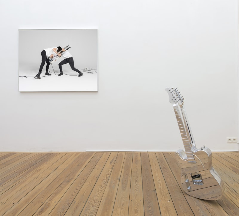 Naama Tsabar, Untitled (Double Face), 2010, 39.4 inches x 12 inches x 13 inches, mixed media with two guitars