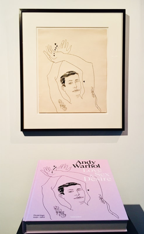Andy Warhol, Love Sex & Desire, published by Taschen pictured with Warhol's original drawing