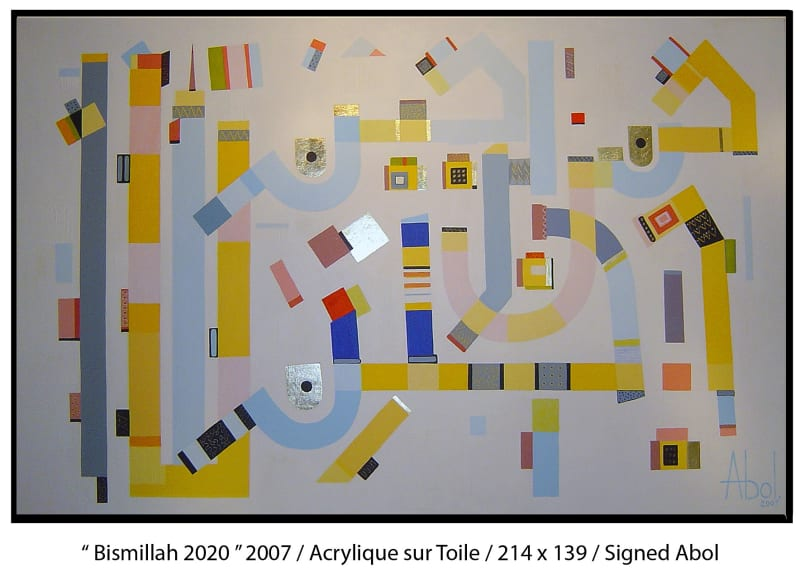 Abol Atighetchi, Bismillah 2020 (2007), Acrylic on canvas, 139x214