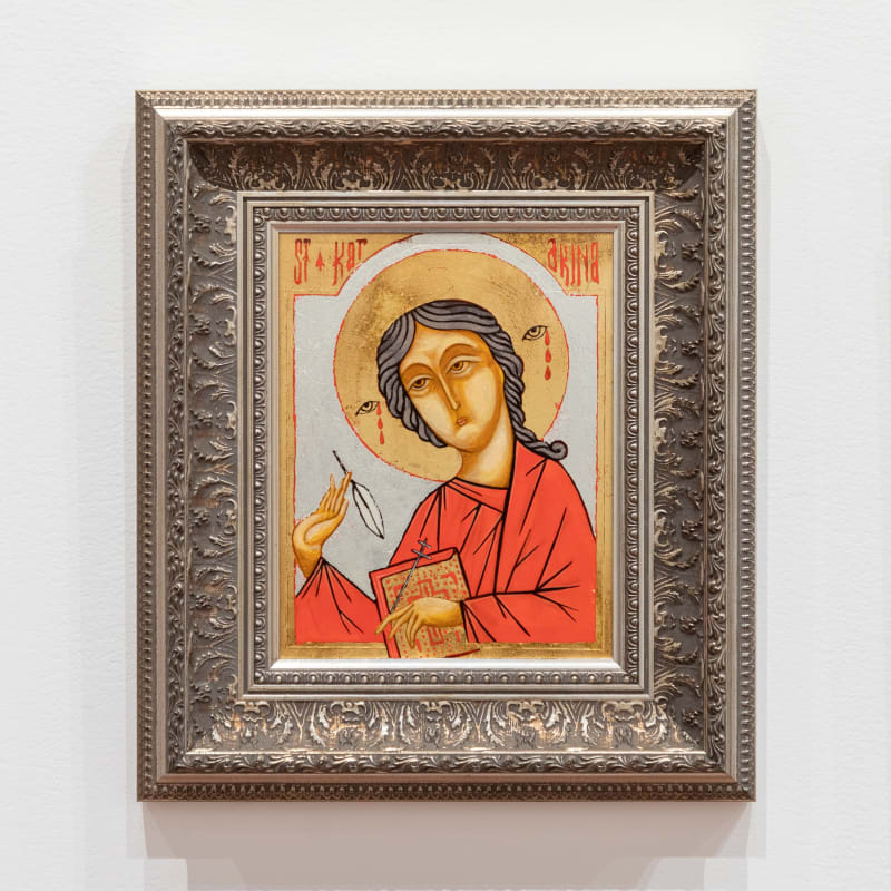 Isiaha Barlow, St Katarina, 2006. Egg tempera and gold and silver leaf on linen on MDF board. 395 x 345mm (framed). Photo by Harry Curly