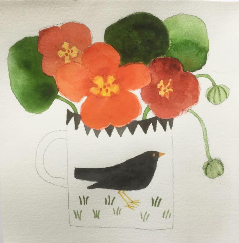 Jill Leman PRWS, Nasturtiums & Blackbird