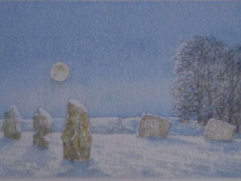 David Payne RWS, Moon and Snow Avebury