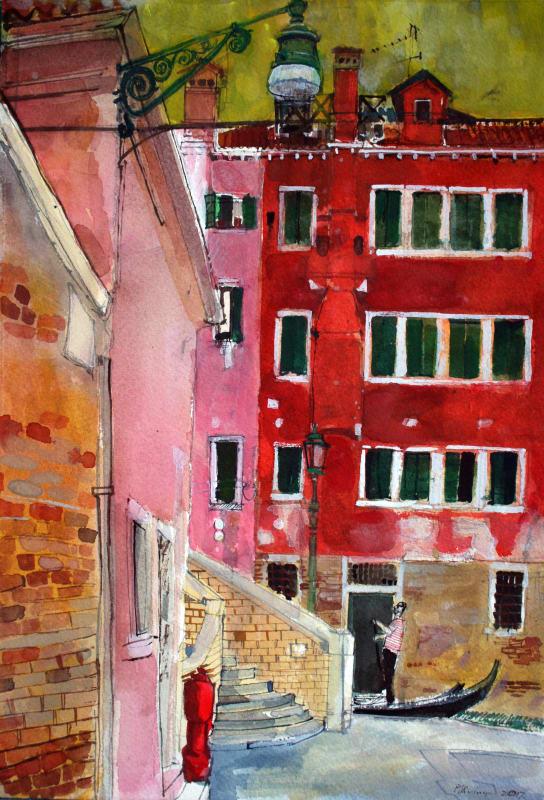 Peter Quinn RWS, Gondolier, San Marco, Venice