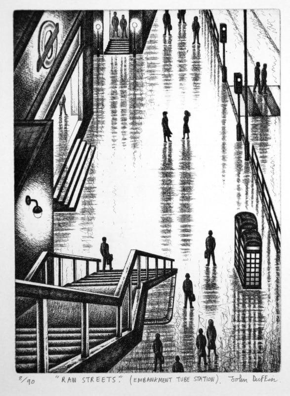 John Duffin RE, Rain Streets - Embankment Tube Station