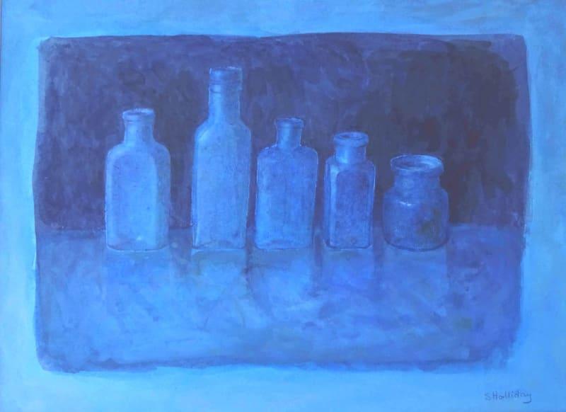 Sarah Holliday RWS, Five Blue Bottles