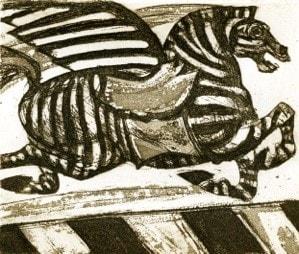Julia Midgley RWS RE, Zebra Crossing