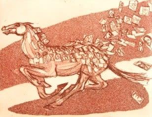 Julia Midgley RWS RE, Post It Pony Express