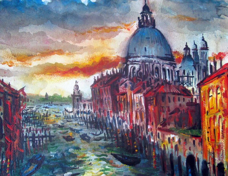 Neil Pittaway RWS RE, Santa Maria della Salute from the Accademia Bridge, Venice