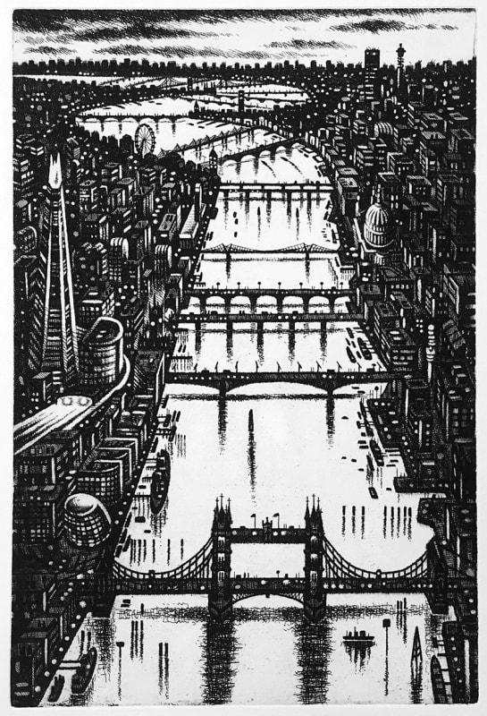 John Duffin RE, Thames Bridges - Looking West
