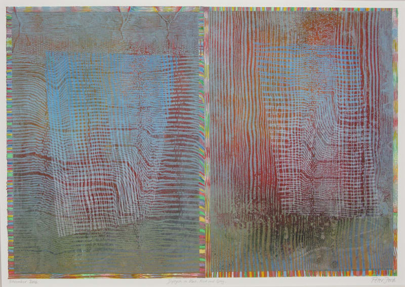 Peter Ford RE, Diptych in Blue, Red and Grey