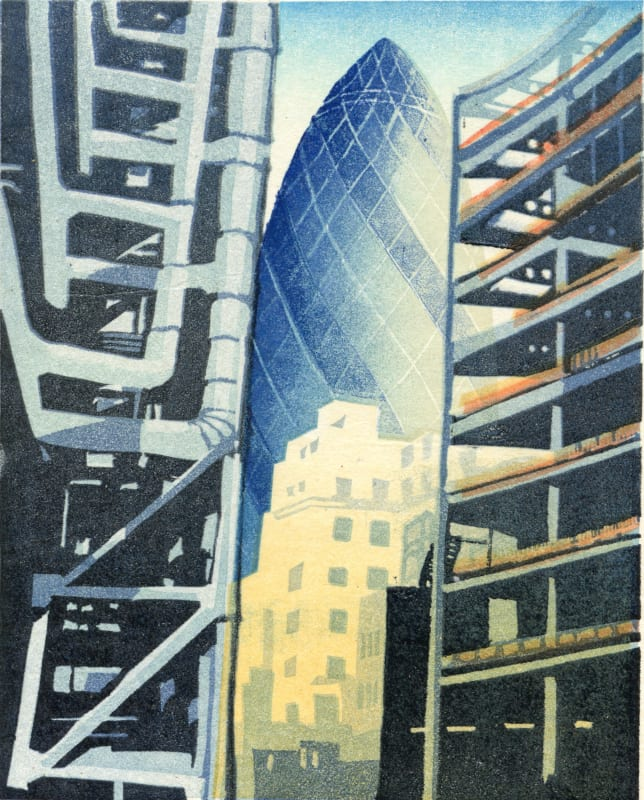 Janet Brooke RE, The Gherkin from Billiter Street